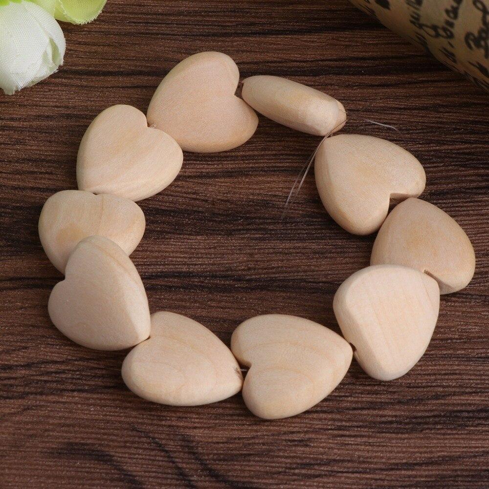 Mini Wood Love Hearts Bead 20mm No Varnish DIY Beads Baby Teether Wooden Teething Beads