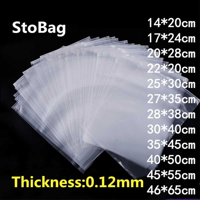 StoBag 10pcs Clear Transparent Plastic Package Cloth Travel Storage Pouch Waterproof Bag Zipper Lock Self Seal Cloth OrganizerPE