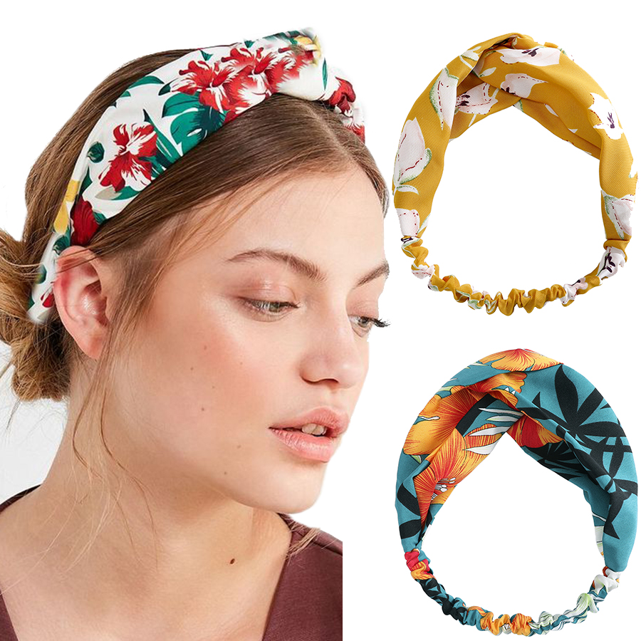 Haimeikang Women Printing Headband Headwear Fashion Elastic Hair Band Turban Hairband Bandage Headdress Hair Accessories