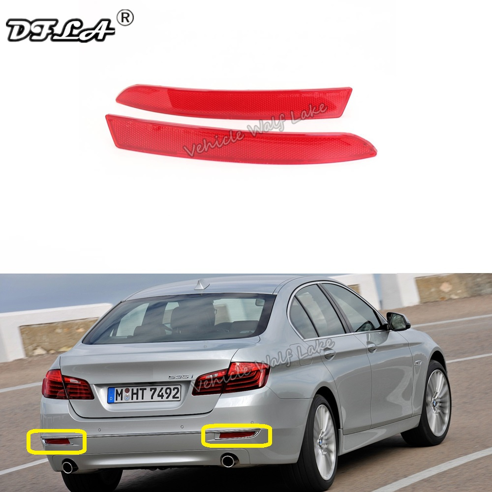 2pcs Left & Right For <font><b>BMW</b></font> 5 Series <font><b>F10</b></font> LCI 2014 2015 2016 2017 Rear Tail <font><b>Bumper</b></font> Corner Reflector Decorative False Light Lamp image