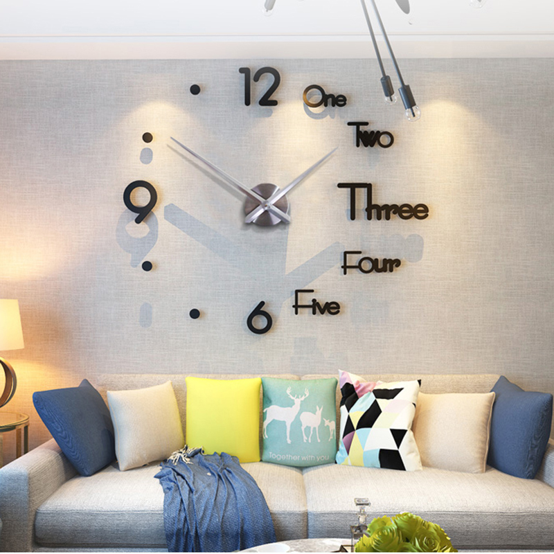 2019 New 3D DIY Large Wall Clock Modern Design Wall Sticker Clock Silent Home Decor Living Room Acrylic Mirror Nordic Wall Clock