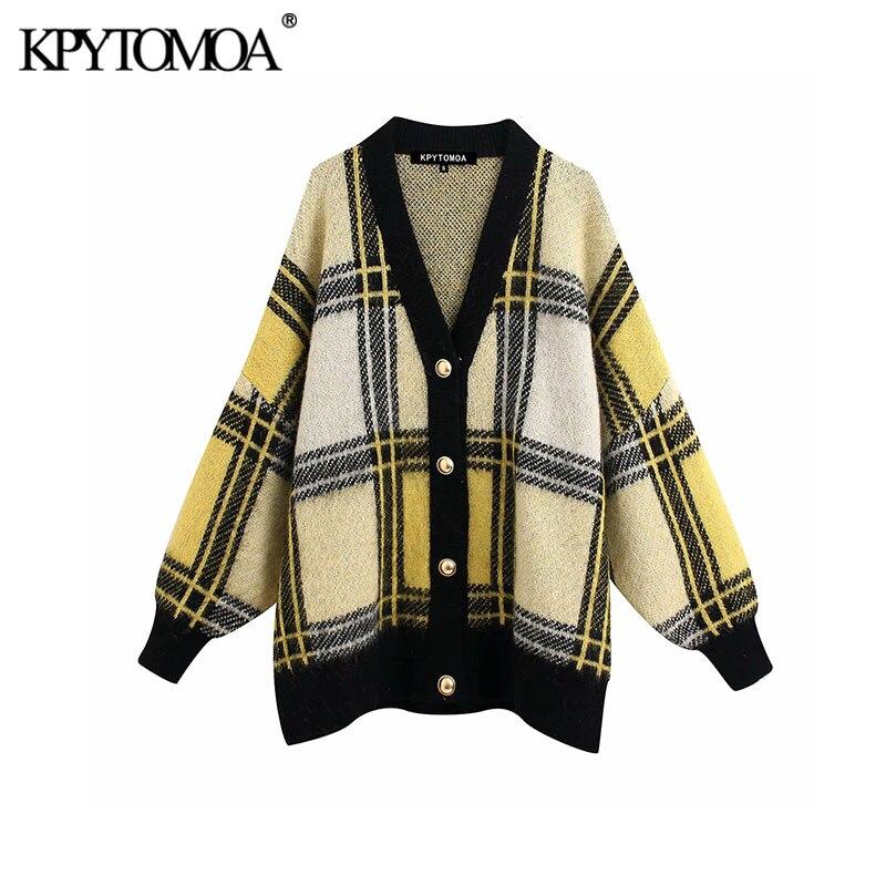 Vintage Stylish Plaid Oversized Knitted Cardigan Sweater Women 2020 Fashion V Neck Long Sleeve Female Outerwear Chic Tops
