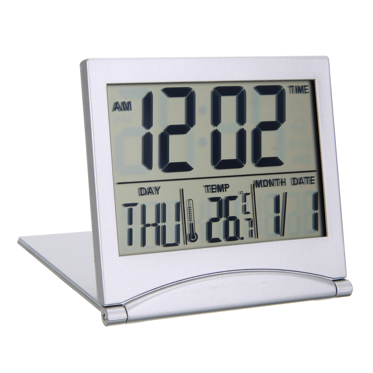 Small Folding LCD Desk Clock Plastic Digital Alarm Clock With Snooze Functions Weather Station For Travel Student Bedside Clock