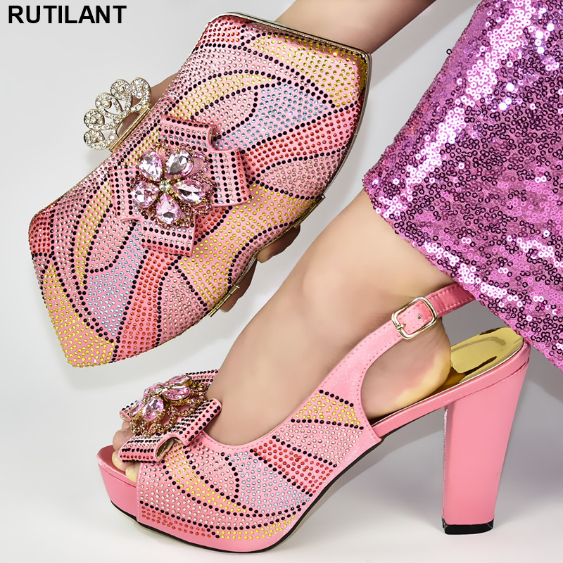Wedding Shoes Bride Cristal African Wedding Italian Shoe And Bag Sets Ladies African Shoes And Bag Set For Party Italian Party