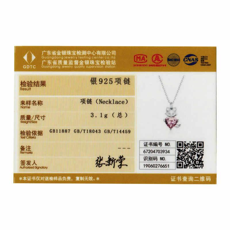 Bamoer tilki kalp CZ kolye kolye kadınlar için pembe 925 ayar gümüş taş bildirimi takı yıldönümü hediyeleri BSN179