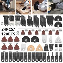 120/24 pçs oscilante viu lâminas de liberação rápida viu kit para ferramentas elétricas como fein multimaster, dremel, ryobi, hitachi, black & decker