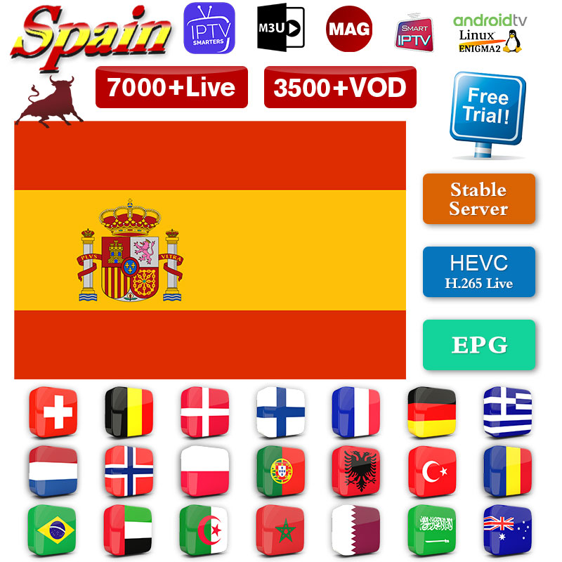 IPTV Spanish Portugal Swedish Germany Arabic Greek Norway Italy IPTV M3u Subscription IPTV MAG Smart Tv Android IP TV