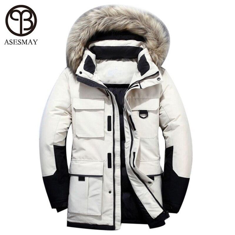 2019 chaqueta de plumón para hombre abrigo de invierno largo parkas blancas plumón abrigos de piel con capucha gruesa caliente chándal para correr prendas de vestir exteriores para hombre - 3