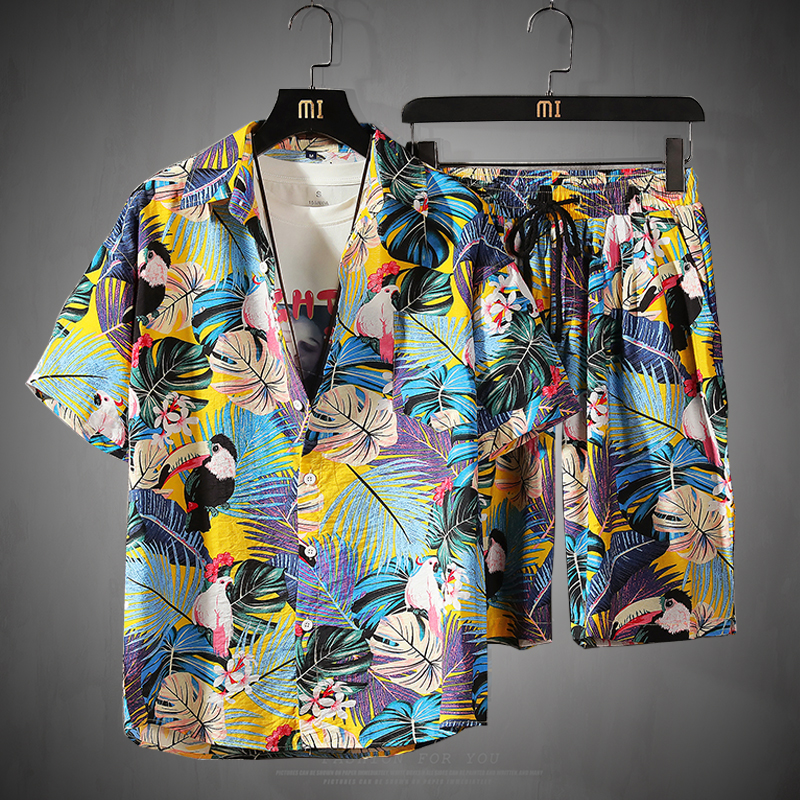 Mens Short Sleeve Shirt Pants Set Floral Beach Casual 2 Piece Leisure Suit