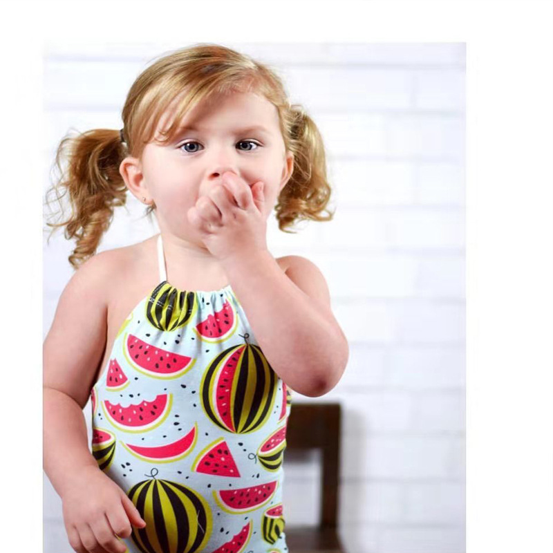 CHILDREN'S Swimwear Girls Baby Baby One-piece Swimming Suit Big Boy Triangular Cute Hot Springs Swimwear