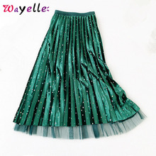 Long Skirt Women Winter Korean Velvet Bling Stars Sequined  2 Side Wear Gauze Pleated Midi Faldas Mujer Moda 2019