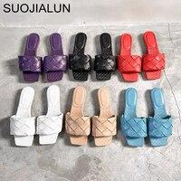 SUOJIALUN 2020 nouvelle marque pantoufles armure en cuir femmes sandale bout ouvert plat décontracté diapositives été en plein air plage femme tongs