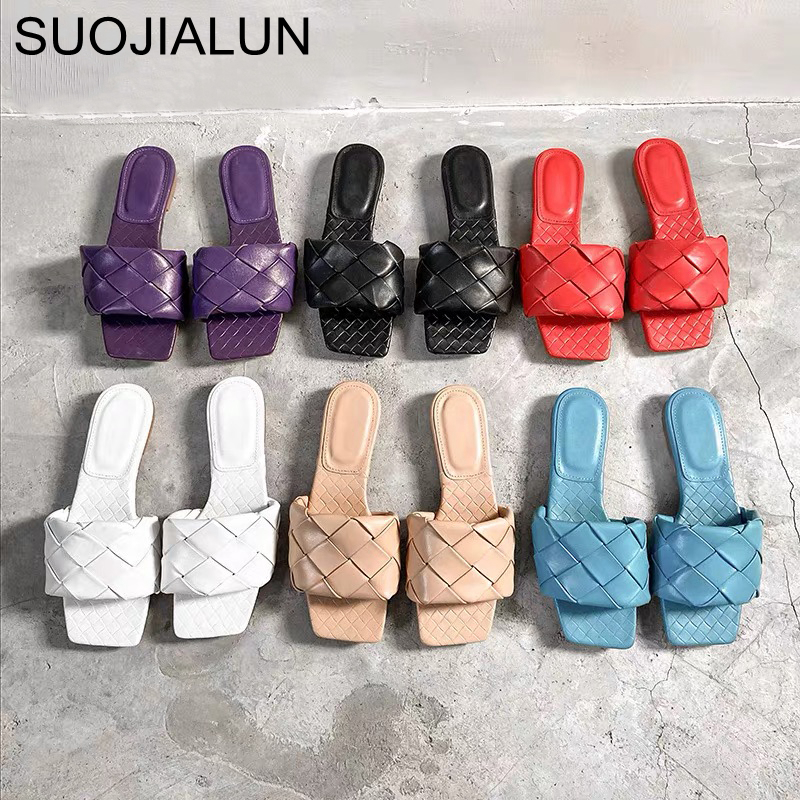 SUOJIALUN 2020 New Brand Slippers Weave Leather Women Sandal Open Toe Flat Casual Slides Summer Outdoor Beach Female Flip Flops