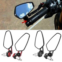 2PCS Side Mirror Motorcycle Easy Install Motorbike Double Bar End Safety Universal Adjustable Accessories