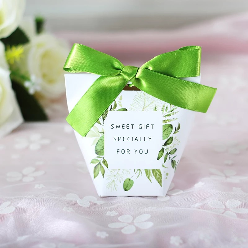 100pcs New European Wedding Favors Green leaves Candy Boxes Bomboniere Sweet Gift Box thanksgiving box Party