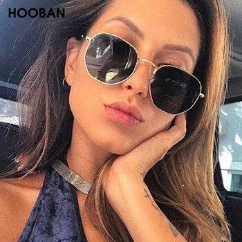 цена на HOOBAN Vintage Metal Men Women Sunglasses Classic Luxury Hexagon Male Sun Glasses Fashion Driving Eyewear Oculos De Sol UV400