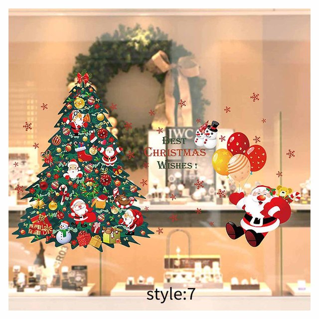 Santa Claus ZJC11 Christmas Decal Window Wall Clings Sticker 12 Pieces Snowman,Tree Holiday Decorations