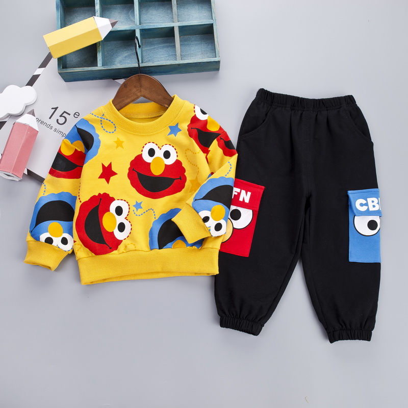 Image 2 - Cartoon Toddler Infant Baby Boy Clothes Set T shirt + Pants Cotton Long Sleeves Outfits Set Yellow White Toddler Boys ClothingClothing Sets   -