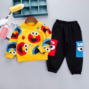 Image 2 - Desenhos animados da criança infantil bebê menino roupas definir camiseta + calças de algodão mangas compridas conjunto amarelo branco da criança meninos roupas