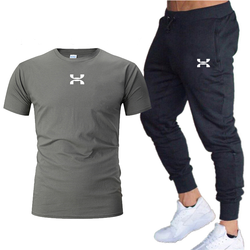 2019 New T Shirt+Pants Sets Men Letter Printed Summer Suits Casual Tshirt Men Tracksuits Brand Clothing Tops Tees Set Male 5XL
