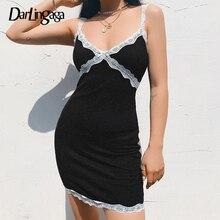 Dress Female Bodycon Sexy Black Club Knitted Fashion Darlingaga Summer V-Neck Lace Backless