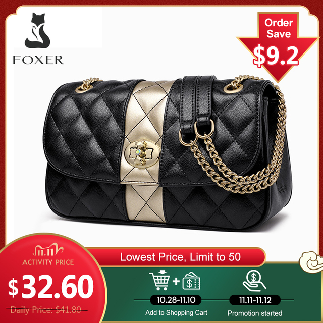 FOXER Women Chain Strap Messenger Bag Diamond Lattice Flap Lady High Quality Leather Ladies Shoulder Bags Valentines Day Gift