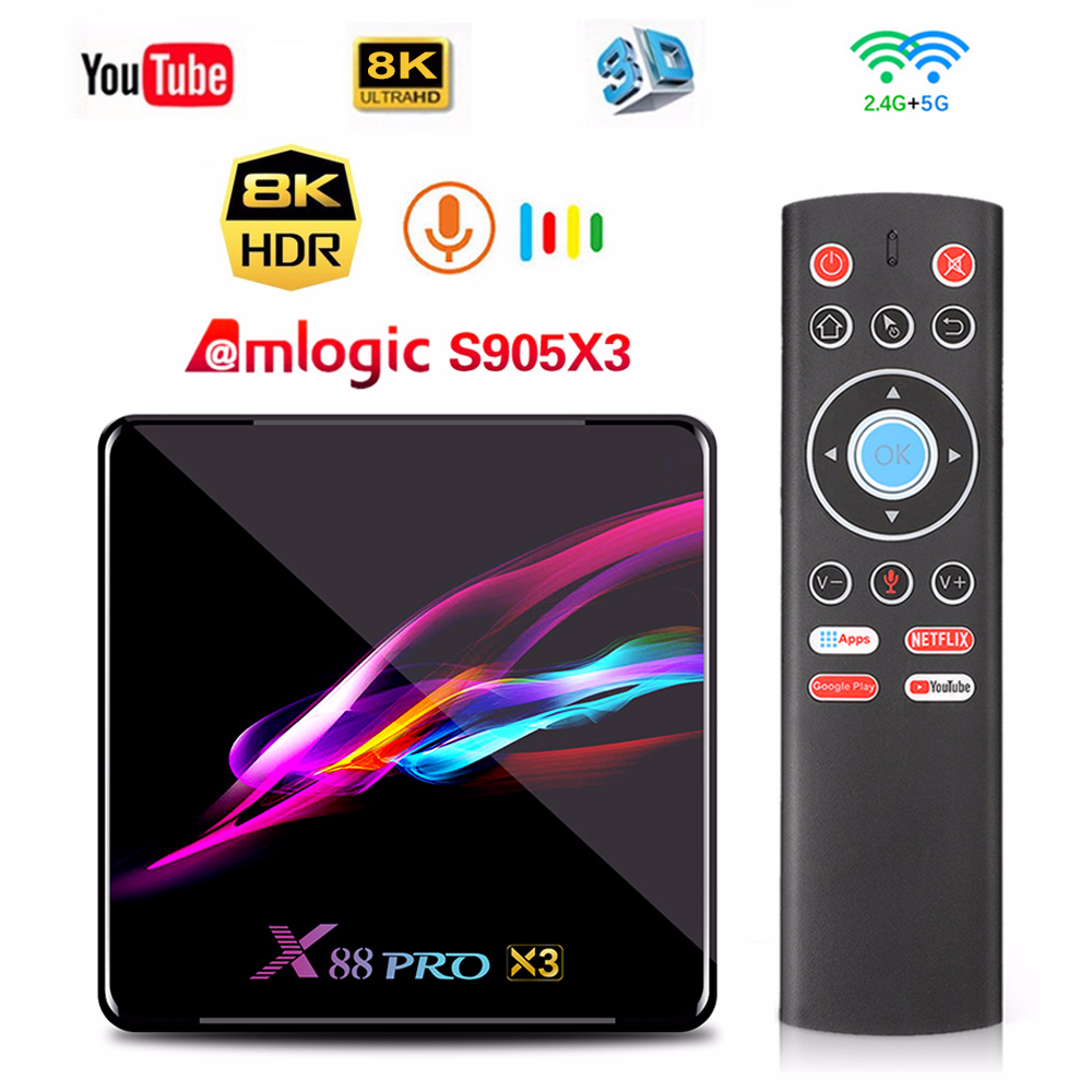 Skywoods X88 PRO X3 4GB 128GB 32GB 64GB Amlogic S905X3 Quad-core di Android 9.0 TV box 4K