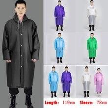Chubasquero impermeable para hombre y mujer, Chaqueta larga con botones EVA, abrigo impermeable con capucha, Poncho
