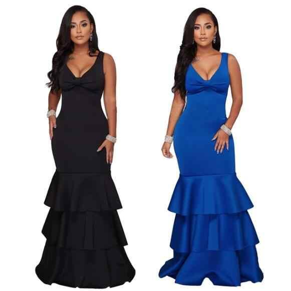 Elegant Ruffles Mermaid Dress Sleeveless V Neck Sexy Bodycon Maxi Dresses Plus Size Women Long Evening Party Dress WF807