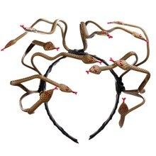 1 Pcs/lot Cosply Halloween Carnival Scary Medusa Snake Headband Stirnband PVC Costume Hairband Headpiece