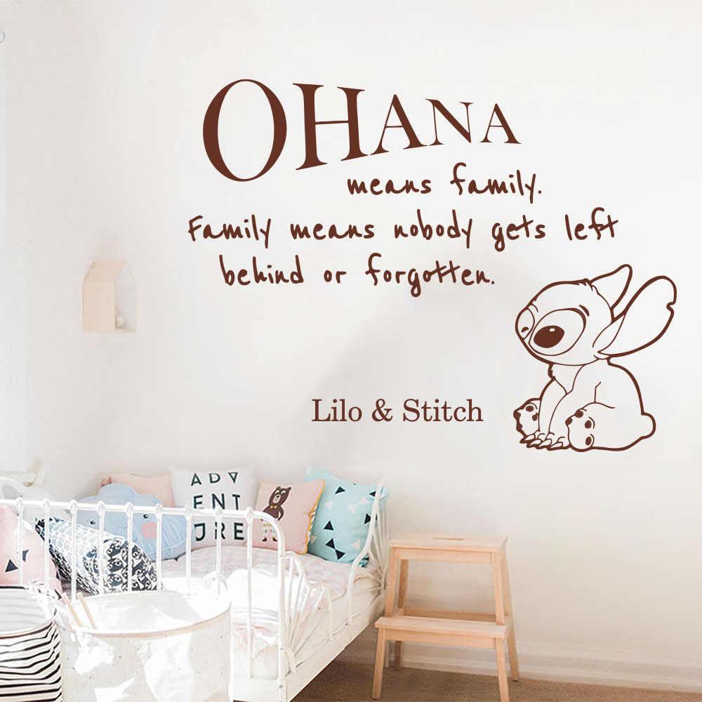 Cartoon Ohana Lilo i Stich cytat naklejki ścienne przedszkole dla dzieci pokój duży Anime rodzina miłość cytat naklejka pokój zabaw Vinyl Decor Z368