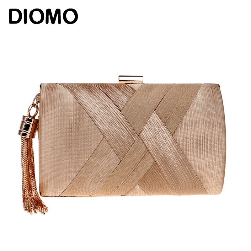 DIOMO New Arrival Evening Bags Clutches For Women Fashion Ladies Luxury Tassel Purse Wedding Party Women Bags Gold Black Green