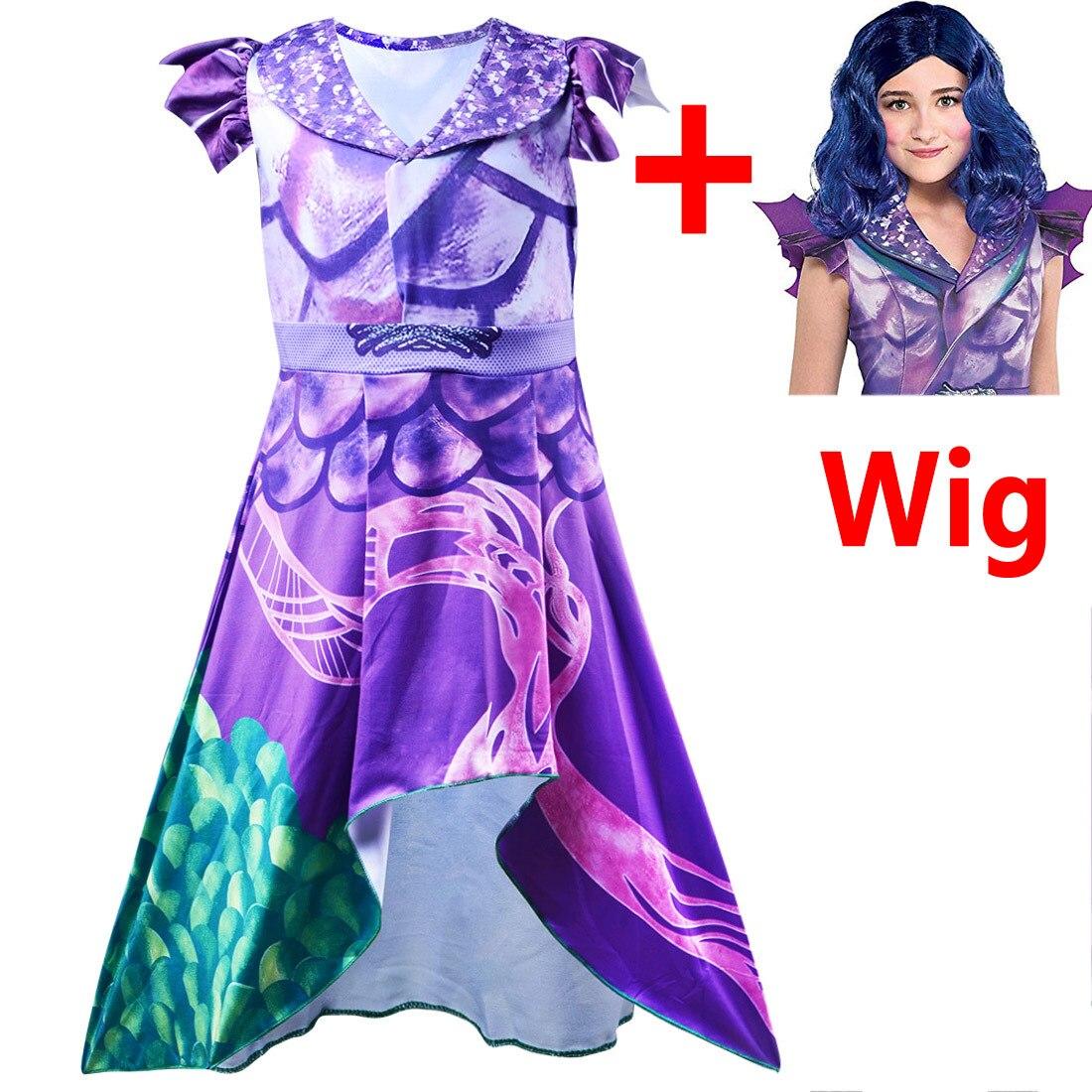 Girls Cosplay Costume Descendants 3 Purple Dress Cosplay Costume Kids 3D Printed Halloween Girls Carnival Party Girls Costumes