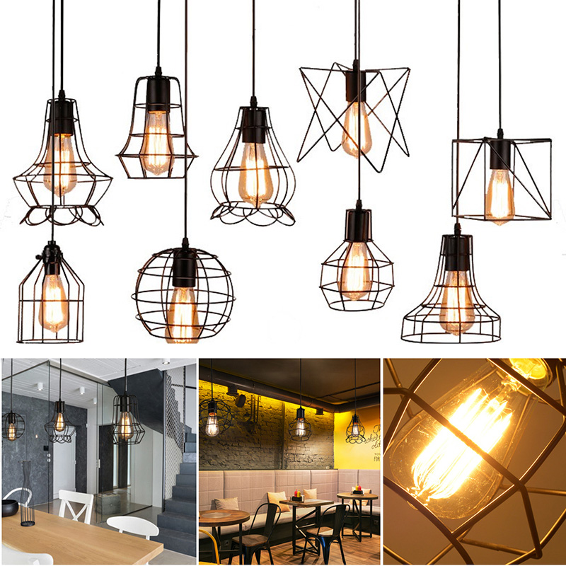 Modern Iron Cage Chandelier Retro Concise 9 Styles Adjustable Ceiling Lamp Metal Hanging Pendant Lamp Indoor Lampshade