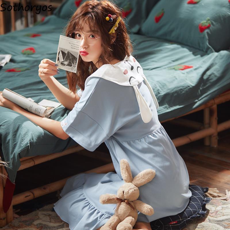 Nightgowns Women Sleepshirts Short Sleeve Summer Ruffles Homewear Kawaii Girls Korean Style Lace-up Trendy Peter Pan Collar Chic
