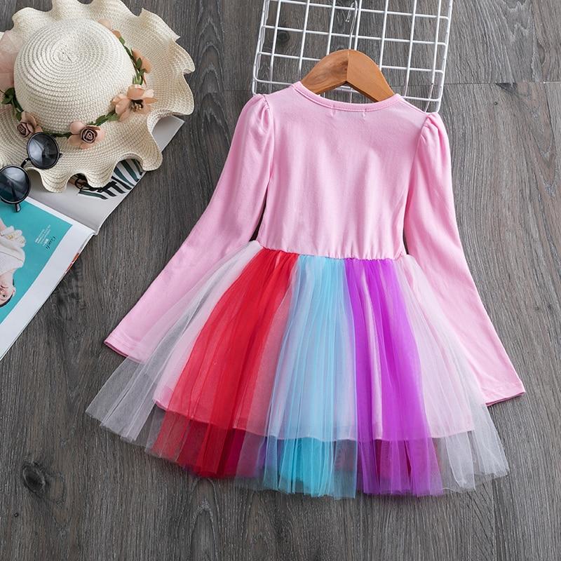 H5d0108e825ae4bf98aacb8766828b14cI 3-8 Years Girls Dress Long Sleeve Kids Unicorn Party Vestidos Fancy Children Princess Dresses Kids Birthday Dress For Girl