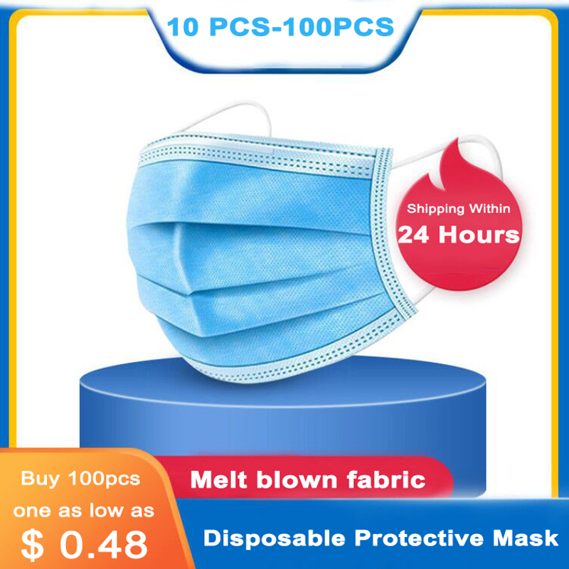 100pcs 3 Layers Anti-Dust Dustproof Disposable Earloop Face Mouth Masks Facial Protective Prevent Bacteria Cover Mask