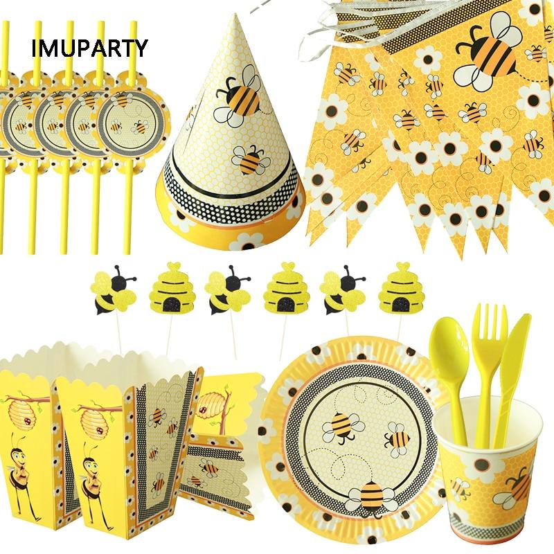 Вечерние принадлежности для шмеля с Пчелой, для детского дня рождения, вечерние украшения, воздушные шары, гирлянда, одноразовый набор посу...