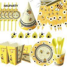 Bumble bee conjunto de utensílios diy, kit de festa de aniversário infantil, decoração, balão, suprimento de chá de bebê