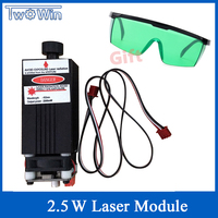 2500mw Laser Module 450NM Focusing Blue Laser Head Laser Engraving,2.5w Laser Tube Diode hx2.54 2p Port+Protective Googles