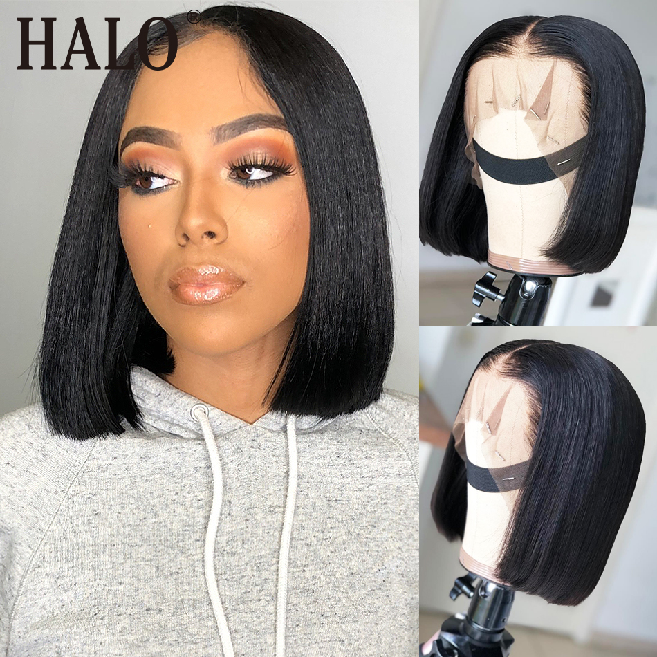 Short Lace Front Human Hair Wigs Brazilian Straight Bob 13x4 Lace Frontal Wig Pre Plucked Baby Hair 150 180 Density Remy Hair