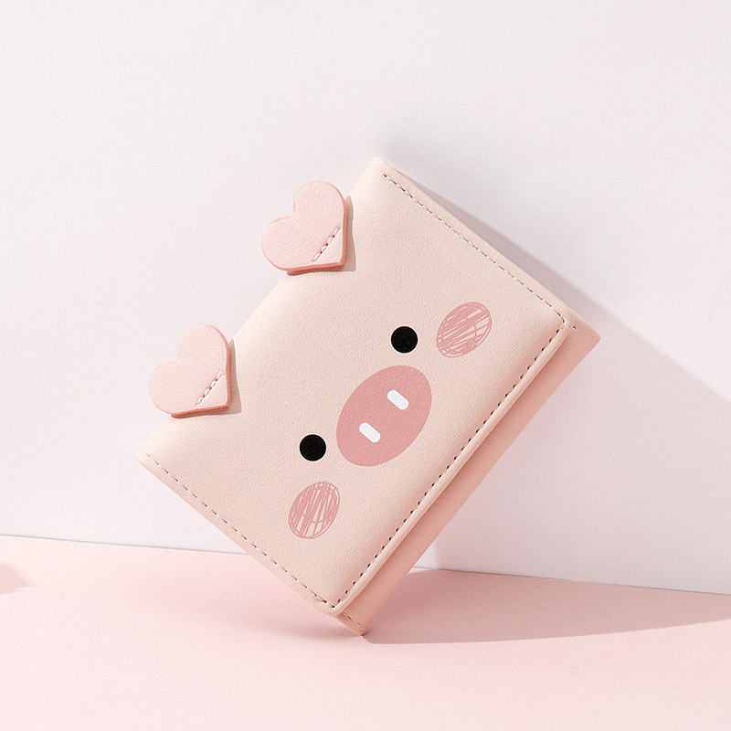 Cute Cartoon Pig Designer Wallet Holders PU Leather Women Purse Ladies Trifold Wallets Female Small Money Purses Moda Mujer 2019