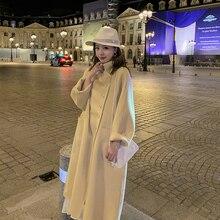 2019 novo de alta qualidade dupla face casaco de lã em casaco de lã longa gola boneca moda a linha solta casaco de lã feminino inverno quente