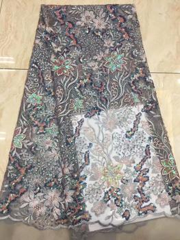 African Lace Fabric Gray Color Embroidery Nigerian sequins Lace Fabric High Quality Sequins French Tulle Lace Fabric For Dress
