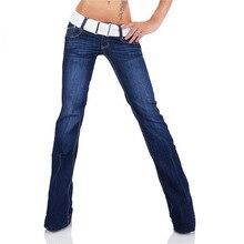 Женская Мода с низкой талией рваные, потертые джинсы хлопковые узкие пикантные узкие женские темно-синие джинсы Брюки расклешенные джинсы для Для женщин