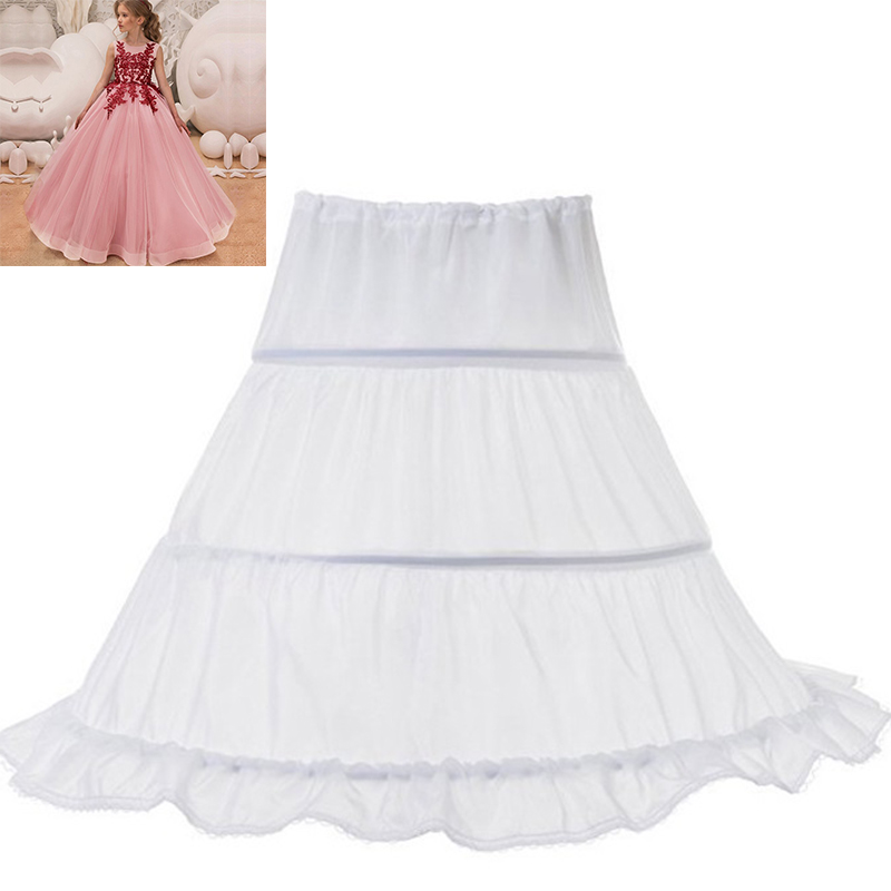 Tutu Skirts Girl Wedding Petticoat Bridal 3 Hoops Crinoline Prom Underskirt Fancy Skirt  Ball Gown Elastic Waist 3-14 Years 1
