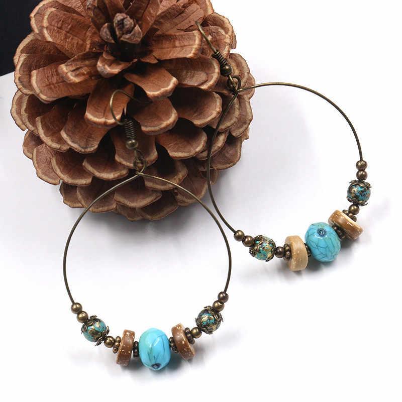 Bohemian Kristal Anting-Anting untuk Wanita Etnis Besar Lingkaran Bulat Berlubang Rumbai Anting-Anting Vintage Logam Manik-manik Kayu Anting Perhiasan Hadiah