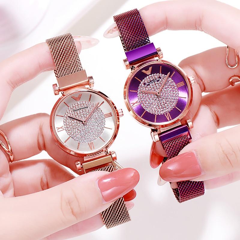 Women Watches 2019 Luxury Diamond Rose Gold Ladies Wrist Watches Magnetic Women Bracelet Watch For Female