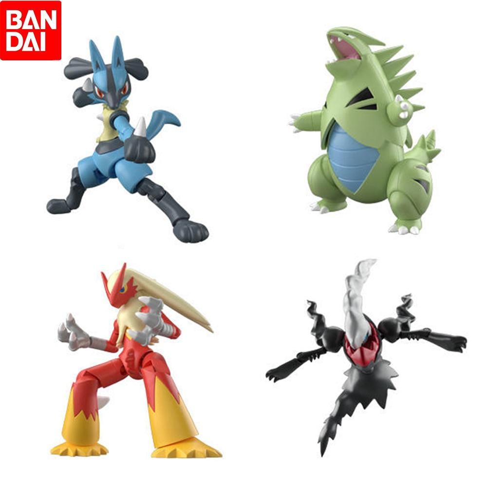 Bandai pokemon 3 lucario darkrai blaziken com caixa figura de ação brinquedos modelo figuras para crianças presente