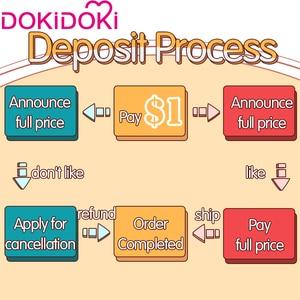 $1 депозит = $5 купон DokiDoki-SR Game Genshin Impact Cosplay Zhongli костюм Чжун ли для косплея